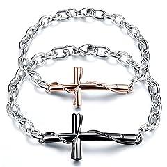 Idea Regalo - oidea 1paio (2pcs) per uomo donna Bracciale, retrò classico croce crocifisso amano Amicizia braccialetto, acciaio inossidabile, Nero Argento Oro Rosa