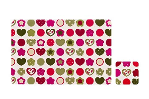 Premier Housewares Love Heart Placemats and Coasters - Set of 4