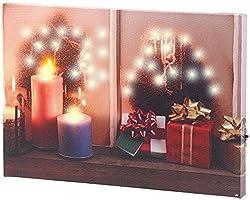 infactory Beleuchtete Bilder: Wandbild Weihnachtliches Fenster mit LED-Beleuchtung, 30 x 20 cm (LED Leinwandbilder)