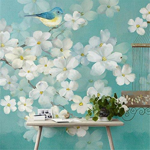 WUTONGmoderna Pintada a Mano con Flores Frescas y pájaros Fondo de Pantalla Personalidad Arte Mural Creativo Papel de Pared de Fondo (1 * 1m2)