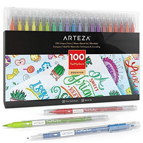 Photo de arteza-lot-de-100-feutres-double-pointe-100-couleurs