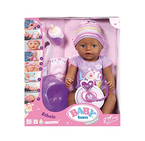 Baby Born 30863–muñeco Violet–9funciones y accesorios interactivos 11accesorios incluido.
