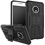 Qzey Tough Hybrid Flip Kick Stand Spider Hard Dual Shock Proof Rugged Armor Bumper Back Case Cover For Motorola Moto-G5 Plus - Rugged Black