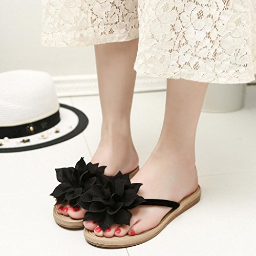Tongs Femme Dorame, Tongs Minions Tongs Anti-slip Et Résistance All-water Sandals - Fleur Noire