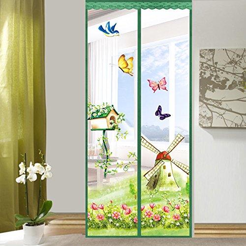 Dulplay telaio 3d velcro magnetica zanzariera magnetica porta finestra,tenda della maglia,porta magica mesh traspirabilità guarnizione fai da te finestra regolabile schermo-e 90x220cm(35x87inch)