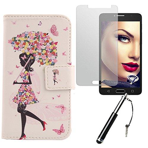 Lankashi Umbrella Girl 3in1 Set PU Flip Leder Tasche Für Alcatel One Touch Pop 4S 5.5