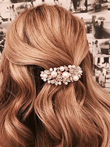 QueenMee Haarspange mit Perlen und Strasssteinen