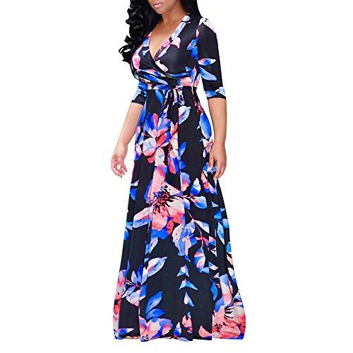 WODENINEK Sexy Frauen V-Ausschnitt Kleid Bohemien Vintage Ethnischen Stil Floral Bedruckt 1/2 Ärmel Cocktail Ballkleid Sommer Maxi Beach Dress,B,2XL -
