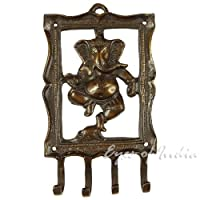 """EYES OF INDIA - 4"""" INDIAN HINDU GOD GANESHA BRASS COAT KEY HANGER WALL HOOKS Ethnic Decor - PLEASE NOTE:This item is made in limited quantities by EYES OF INDIA. Wedo notresell nor authorize any other sellers to sellour products, so if you purcha..."""