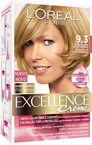 L'Oréal Paris Excellence Creme Triple Protección Coloración, Tono: 9.3 Rubio Claro Dorado - 192 g