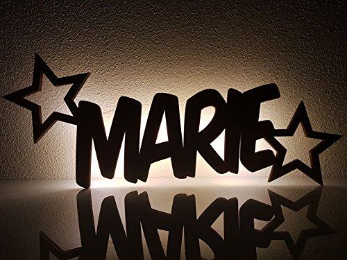 """Schlummerlicht / Nachtlicht """"Sterne"""" personalisiert mit Namen - Optional mit Zugschalter und Lackierung erhältlich - 50% dickeres Holz als bei den Mitbewerbern!"""