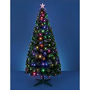 Funkybuys Tall 3ft Black Fibre Optic Christmas Xmas Tree 4ft