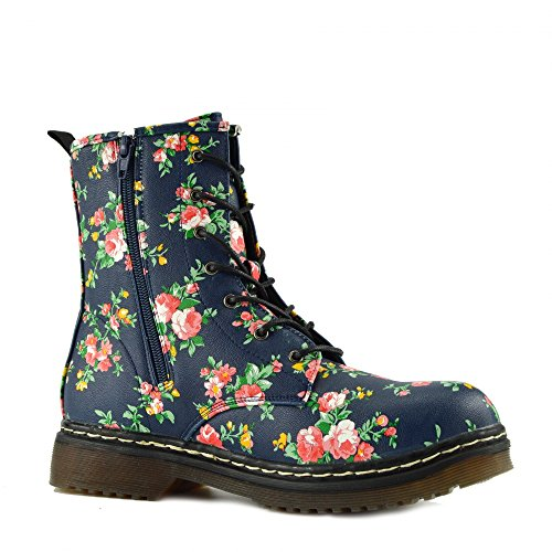 Kick Footwear - Ladies ankle retro combat boot womens lace funky vintage goth ankle boot Blue Floral