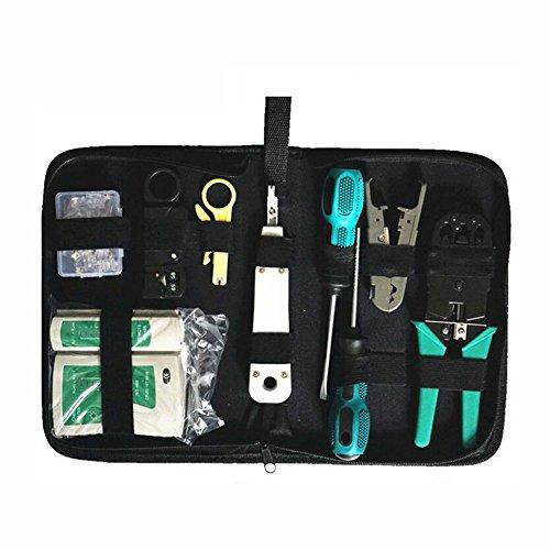 aveson 8in 1Ethernet-LAN RJ11RJ45Cat5Kabel Tester Netzwerk Analysegerät Draht Crimpzange Stripper Tool Kit Schraubendreher punch-down Tools (Battery Crimp Tool Kit)