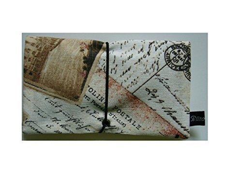 Büroteuse Tabaktasche / Drehertasche im schwarzem old Postcard-Design, jede Tasche ein Unikat! bunt