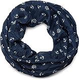 styleBREAKER leichter Loop Schlauchschal mit maritimen Anker und Steuerrad Muster, seidig, Schal, Tuch, Damen 01016129, Farbe:Dunkelblau-Weiß