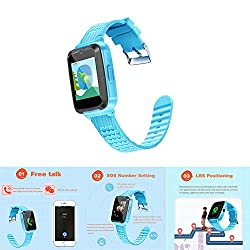 Tioodre Smart Watch For Kids Android Child Smart Phone Watch 1.54 Inch Touch Screen Lbs Positioning Tracker (Blue)