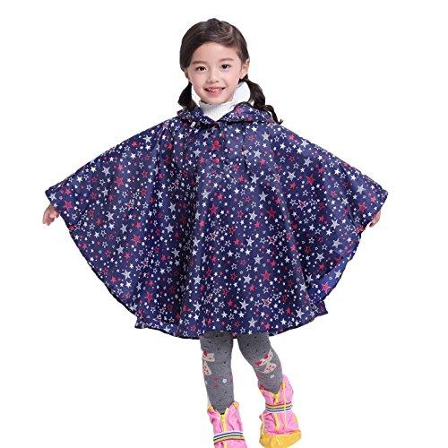 Juleya Poncho New Waterproof Kids Rain Coat para niños Impermeable Ropa Impermeable/Rainsuit, Niños niño niña Impermeable Blue Star S