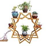 Flower stand Massivholzbalkonblumen-Standstern-mehrschichtiger Innenblumentopf-Betrieb Holzfleischgestell (Color : Wood Color, Size : 90 * 35cm)