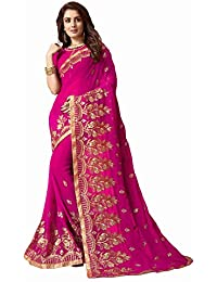 Vaidehi Sarees Georgette Embroidery Saree With Blouse Piece (Crystal-Queen_Pink_Free Size)
