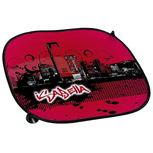 Preisvergleich Produktbild Auto-Sonnenschutz mit Namen Isabella und schönem Motiv mit City-Skyline in der Farbe Pink für Mädchen | Auto-Blendschutz | Sonnenblende | Sichtschutz
