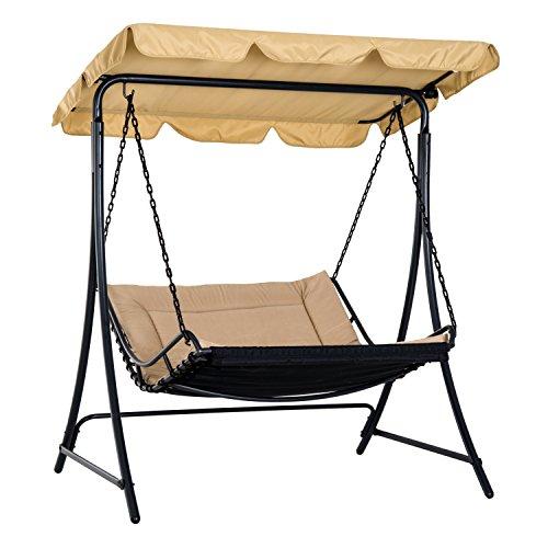 Balancelle hamac de jardin 2 places grand confort inclinaison toit réglable 1,6L x 1,17l x 1,73H m métal époxy noir polyester beige 72YL
