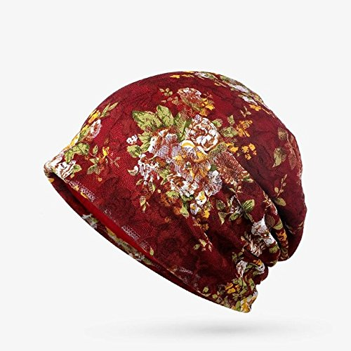 Brolux(TM) 1 PC Hats For Women Summer Autumn Thin Beanie Knit Cap Lace Flower Bonnet Fashion Skullies Female Gorro Feminino Chapeu 2017 New [Wine Red ] Red Hat Bonnet