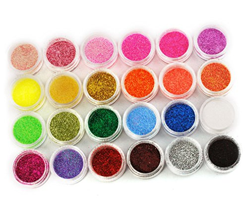 24 Shinny und Metall Farbe Prof. Nail Art Glimmer Glitter Pulver Glitterstaub Set