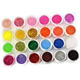 24 COLOURS NAIL ART Glitter Dust Powder UV Nail Gel Acrylic Nail Decoration W400 by Micro Trader