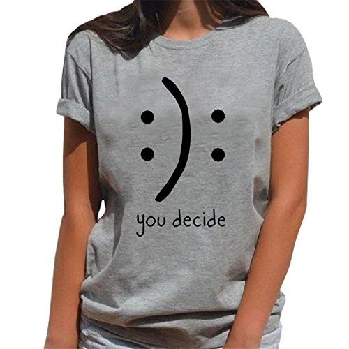 Blackmyth donna maniche corte cute maglietta lose girocollo casual tops signore baumwolle t-shirt grigio small