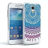 Samsung Galaxy S4 mini Schutzhülle Silikon Mandala Design I von EAZY CASE I Slimcover Henna, Handyhülle, TPU Hülle / Soft Case, Silikonhülle, Backcover, indische Sonne, transparent, Blau/Pink