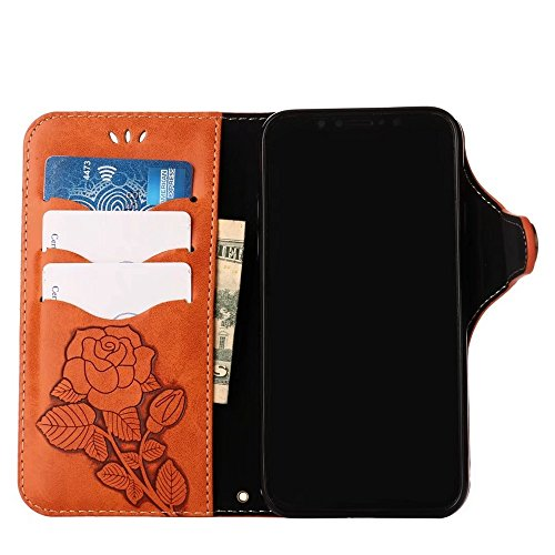 Geprägte Floral Retro PU-Leder Magnetverschluss Geldbörse Tasche mit Lanyard für iPhone X ( Color : Black ) Orange