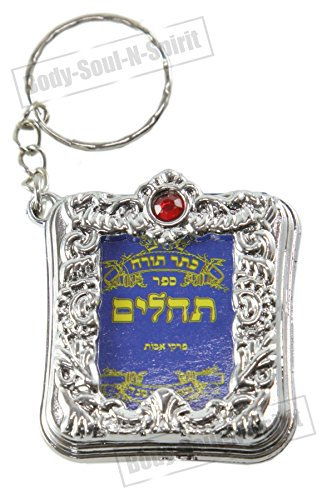 Body-soul-n-spirit - décoration murale Porte-clés Livre de Psaumes en hébreu TEHILLIM Protection pour Le Voyage Judaïca