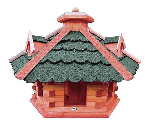 XXL großes Vogelhaus, Futterhaus , mit 3 x dekorativen Dachgauben und Futterschacht / Silo, große Vogelvilla Holz mit /,auch mit Ständer (als Zubehör erhältlich),-Vogel+Futterhaus GRÜN moosgrün