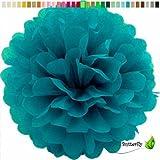 1 Papier Pompon 20cm ( dunkel türkis 340D ) // PomPom Bommel Papier Kugel Seidenpapier Pompon Blumen Deko Hängedeko Raumdeko