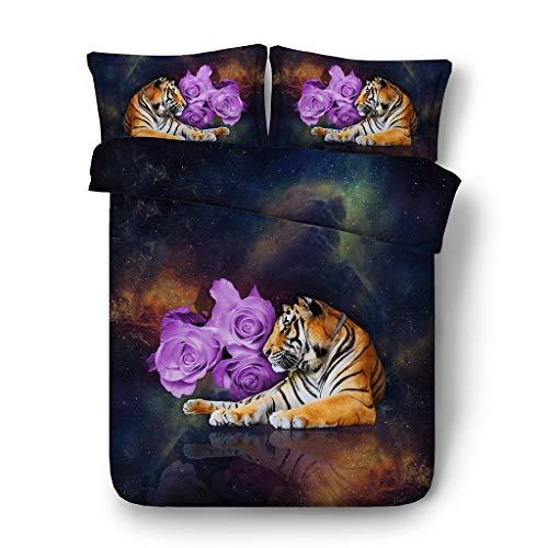 Tiger Streifen Bettbezug Löwe Bettbezug Leopard Bett Set lila Blumen Tagesdecke schwarz und blau Galaxy Bettwäsche 3pc 1 Stern Tagesdecke 2 Tier Kissen Shams NO Quilt -