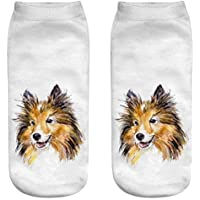 OHlive Suave Women Dog 3D Impreso Sneakers Liners Tobillo Calcetines (1 par-GG03-One Size) (Color : GG04, tamaño : Talla única)