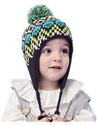 262b79184a19 MILEEO Bonnet Enfant Tricot péruvien Cache oreilles Pompom Polaire