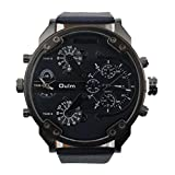 2017 Xmansky Quarzo quadrante grande polso orologio Oulm di lusso militare esercito doppio fuso orario (Nero)