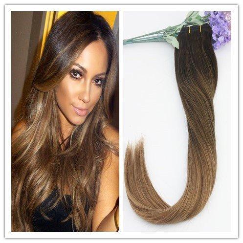 Balayage 2tones Marron 35,6 cm 40,6 cm 45,7 cm 50,8 cm 55,9 cm remay cheveux Extensions en cheveux 100% humains