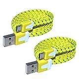 OmniWire® 2X USB Kabel flach je 2 Meter in Gelb mit Micro B-Stecker mit Stoff/Nylon ummantelt