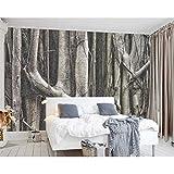 Fobostory Kundenspezifische Tapetenausgangsdekorfresko-Waldbaumschwarzweiss-Tapete Des Nordischen Persönlichkeitswohnzimmer-Hintergrundes 3D-200X140Cm