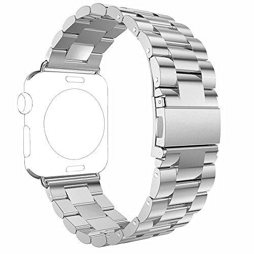Preisvergleich Produktbild Für Apple Watch Armband 42mm Silber,Rosa Schleife® Edelstahl Metall Apple iWatch Armband Uhrenarmband Replacement Strap Armbänder mit Metallschließe für Apple Watch Sport & Edition Alle Versionen (nur für alle 42mm Versions)