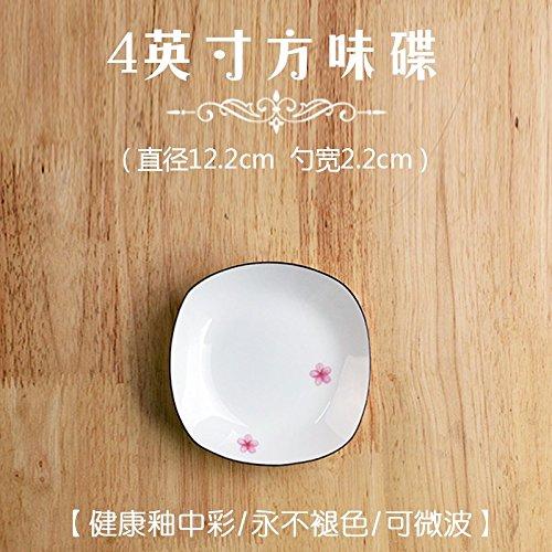 YUWANW Sakura Japanese-Style Geschirr Original Design Holz West Bone Porzellan Hochwertige Kreative Einfache Platte Home, Cherry Blossom 4 Zoll Square Dish (Gewürzschale) 4 Zoll Square Dish 4in Square Platte