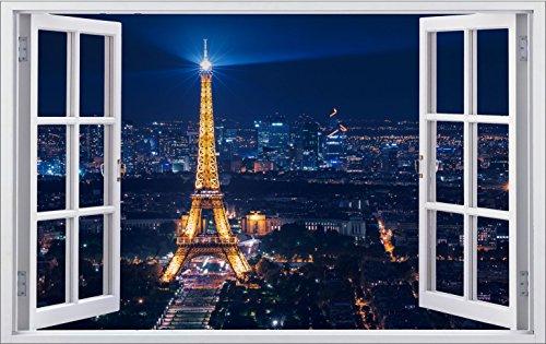 DesFoli Paris Frankreich 3D Look Wandtattoo 70 x 115 cm Wanddurchbruch Wandbild Sticker Aufkleber F266