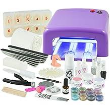 Kit per manicure + Nail Art professionale, completo,lampada UV 36W Viola (4lampadine), gel UV (3) e tutti gli accessori per le unghie,formato XXXL