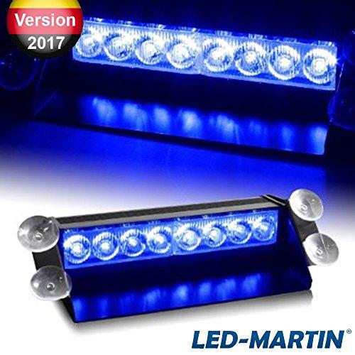 Preisvergleich Produktbild LED-MARTIN® 8x3W LED Straßenräumer V2.0,  Frontblitzer (Lichtfarbe: blau) - MEMORY Funktion - 3W LEDs