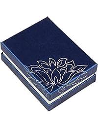 PandaHall-Precio por 2 piezas Rectángulo Impreso de cartón Cajas de collar de la joyería, Terciopelo adentro, Azul, 9x6.8x3.3cm