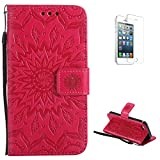 KaseHom Compatible with Case iPhone 5/5s/SE Custodia a Portafoglio Reticolo di Fiore del Sole Impresso Antiurto Antiscivolo Flip Magnetico(con Gratuito Proteggi Schermo) di Protezione Completa-Rosso