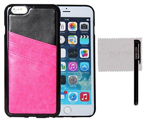 xhorizon® ZA Hohe Qualität TPU und Leder Weich Case Hülle Brieftasche Kartenhalter Tasche für iPhone 6 Plus 5.5 inch Rosa Rot+Schwarz